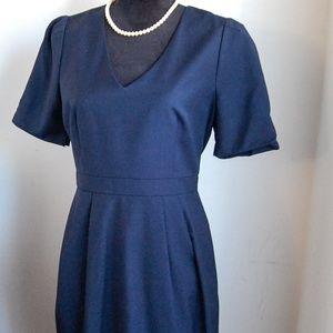 J. Crew Suit V-Neck Navy Blue Dress